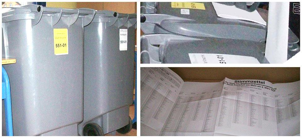 »Großmülltonnen« (so die Herstellerbezeichnung) bieten nicht nur viel Raum für Wahlzettel, sondern auch für missverständliche Analogien ©Fotos: mgzn rstkltr